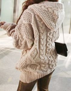 Hooded Long Sleeve Cardigan - Light Coffee