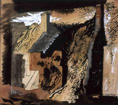 John Piper (1903-1992), Cottage by the Mill, c.1940/41, Ink, watercolour  gouache laid on paper, £14,000, Modern British Paintings and Prints - The Scottish Gallery, Edinburgh - Contemporary Art Since 1842