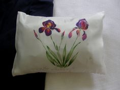 IRIS New Zealand made, Iris SILK PILLOW for Health and Beauty. Hand painted, Baby Pillow. Pillow case, Inner included, 25cm x 36cm. Luxury++ by KiwiSilks on Etsy