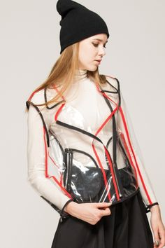 Front Row Shop - Black and red biker jacket