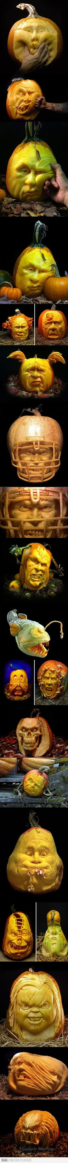Creepily detailed jack-o-lanterns