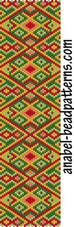 Схема браслета Осенний орнамент - мозаичное плетение / free peyote pattern - peyote bracelet http://www.anabel-beadpatterns.com/