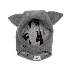 Beau LOves Jersey Lined Grey Fleece Hat With Ears