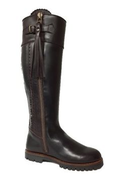Campbell's of Beauly - Chocolate Leather Knee High Boots Wellington Boot, Knee High Boots, Rubber Rain Boots, Leather Boots, Riding Boots, Spanish, Women Wear, Zip, Lady