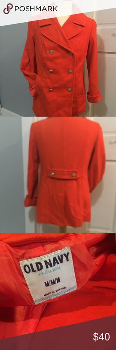❤️❤️BRIGHT AND VIBRANT ORANGE OLD NAVY COAT ❤️❤️ BEAUTIFUL COAT!!!  This is a lightweight pea coat style coat.  GREAT FOR THE UPCOMING COOLER WEATHER!!!  You will LOVE ❤️ LOVE ❤️ LOVE ❤️ this coat!!!  Size Medium.  PRICED TO SELL QUICKLY!!! We are cleaning out closets and have many designer items that need to find a new closet!!!  Bundle bundle bundle for additional savings!!! Old Navy Jackets & Coats Pea Coats