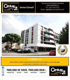 C Vendu !!!  Votre Agence Century21 Immo Conseil à Marseille Chateau Gombert a Vendu:  Un Appartement de type 3 avec balcon,  cave et garage. Saint Jérôme Marseille 13013.