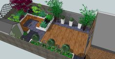 Contemporary design for a small back garden in London: shade tolerant planting with all year interest, raised beds and built in seats of cedar deck board. Townhouse Landscaping, Small Back Gardens, Back Garden Design, Outdoor Seating, Outdoor Decor, Cedar Deck, London Garden, Built In Seating, Garden Planning