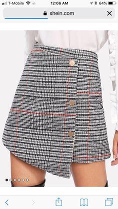 Glen Plaid Overlap Skirt -SheIn(Sheinside) - Glen Plaid Overlap Skirt -SheIn(Sheinside) Source by faithsarnor - Smock Dress, Belted Dress, Button Skirt, Glen Plaid, Culottes, Short Skirts, Fashion Dresses, Cute Outfits, Couture