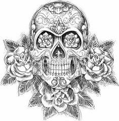 Desenho de caveira mexicana com flores
