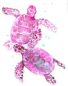 Sea Turtles, Purple turtles 14 X 11 in original watercolor painting Purple Turtle, Turtle Love, Sea Turtle Pictures, Happy Birthday Blue, Baby Sea Turtles, Tortoise Turtle, Freshwater Aquarium, Aquarium Fish, Sea Creatures