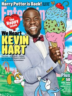 Our Happy Issue is HERE and Kevin Hart is ready to bring on the laughs. Photo credit: Art Streiber for EW; Illustration: Zohar Lazar