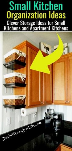 Small kitchen organization ideas - clever small kitchen storage ideas - space saving small kitchen organization ideas tips and tricks on a budget to declutter small kitchens in tiny apartments and small houses #kitchenorganization #kitchendiy