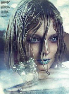Vogue Italia Model: Melissa Tammerijn Photographer: Michelangelo Di Battista Mermaid Chic Beauty Editorial Shimmer Dewy Skin Wet Hair Blues ...