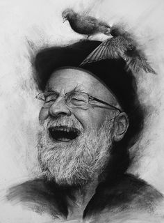 Terry Pratchett, Charcoal on paper, 59.4 x 42 cm. Realistic charcoal drawing by Liu Ling from Art Is http://artis.sg - #realism #portrait #oldman #laugh