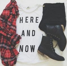 Plaid shirt and boots - Music Concert / Festival Outfit