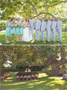 teal and coral wedding party #tealwedding #malibuwedding #weddingchicks http://www.weddingchicks.com/2014/01/06/coast-to-coast-wedding/