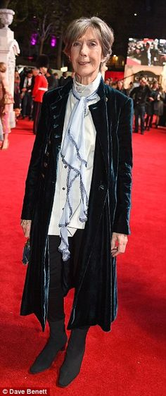 Stylish and sophisticated: Dame Eileen Atkins looked lovely in a crushed velvet navy coat