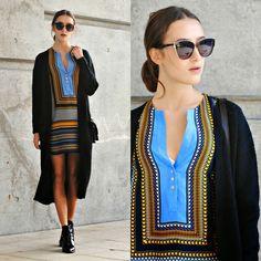 Zara Black Sunglasses, Zara Boho Dress, Long Cardigan, Zara Patent Boots