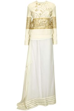 White bird embroidered jumper with drape skirt available only at Pernia's Pop Up Shop.