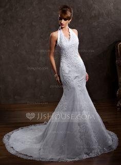 A-Line/Princess Halter Chapel Train Organza Satin Wedding Dress With Lace Beading (002000297)