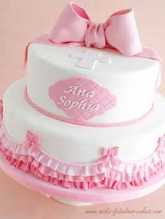 A sweet baptism cake decorated with pink ombre ruffles and cute fondant bows, perfect for a little girl christening.It would also be cute as a birthday cake minus the cross (or keep it and have a birthday blessings cake) Baby Girl Baptism, Girl Christening, Christening Cakes, Comunion Cakes, Theme Bapteme, Little Girl Cakes, Fondant Ruffles, Ruffle Cake, Religious Cakes
