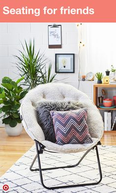 always have room for one more friend with a faux fur chair that folds out when - Dorm Room Chairs