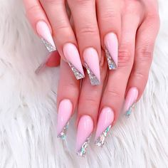Gorgeous Coffin Nails With Glitter Design ❤ Perfect Coffin Acrylic Nails Designs To Sport This Season ❤ See more ideas on our blog!! #naildesignsjournal #nails #nailart #naildesigns #coffinnails #ballerinanails #coffinacrylicnails Glam Nails, Fancy Nails, Beauty Nails, Glitter Nails, Cute Nails, My Nails, Acrylic Nail Designs, Nail Art Designs, Acrylic Nails