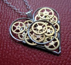 Mechanical Heart Necklace Collision Clockwork by amechanicalmind, $75.00