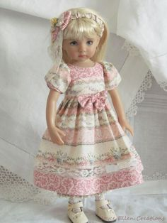 "Fit: This should fit 13"" Dianna Effner Little Darlings and similar dolls. Doll not included. 1-Dress -Pretty dress It is made from fine cotton fabric in shades of rose, lilac, green, blue and ivory dress has-"