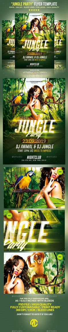 Jungle Party / Psd Poster Template  - Events Flyers