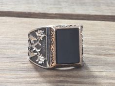 925K Sterling Silver Gemstone Man Ring With Natural Black Onyx #IstanbulJewellery #Statement