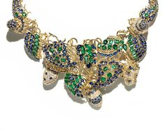 Jean Schlumberger for Tiffany sealife necklace set with sapphires, emeralds and diamonds in yellow gold, from the 2015 Blue Book collection.