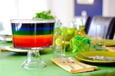 rainbow jello in trifle bowl - 1 - either give yourself plenty of time aka 2 days at least, or use the quick set method for the layers. 2 - if you go with the quick set method make sure to start it towards the end of the set up of the previous layer, it does begin to set up quicker then you think and because of that, you will get lots of air bubble & create a cloudy layer....like my yellow layer
