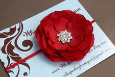 Baby Headbands..Baby Girl..Baby Headband..Baby Flower Headband..Baby Girl Red Flower Headband..Christmas Headband. $12.50, via Etsy.....oooh! I like this one! With a red band too. But will it match the sash??