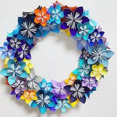 お花のリース。Blue ×Yellow 。 #折り紙 #おりがみ #origami #花 #リース #paperflowers #papercraft - odd_eye_puppeteer