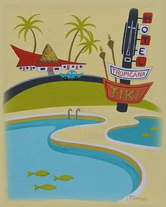 Mid Century Modern Eames Retro Limited Edition Print from Original Painting Tiki Hotel Pool