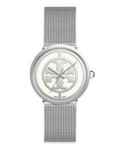TORY BURCH Reva Silvertone Mesh Bracelet Watch. #toryburch #watch