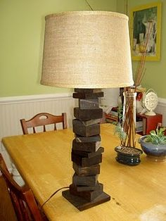 Awesome lamp from scrap wood @themoanstead.blogspot.com