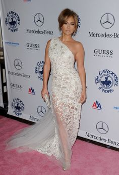 J-Lo White Lace Gown
