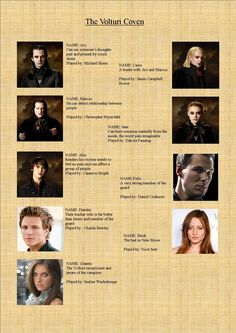 Here is the Volturi Character List. Visit Becky& Twifan page to see a bigger picture of the list. Twilight Quotes, Twilight Saga Series, Twilight Book, Twilight Edward, Twilight New Moon, Twilight Pictures, Nikki Reed, Aro Volturi, The Cullen