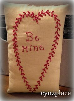 Handstitched Be Mine Valentine Pillow tuck by cynzplace on Etsy, $9.23
