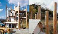 Toyo Ito, Kumiko Inui, Sou Fujimoto e Akihisa Hirata: Home-for-All, Rikuzentakata, Prefettura di Iwate. La struttura verticale è stata realizzata con tronchi di cedro senza corteccia