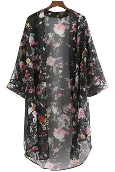 Full Floral Print Chiffon Blouse
