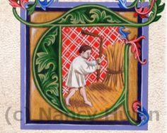 Alfabeto letra T, letra pintada Medieval T, pintado inicial, letra iluminado medieval T, Renacimiento letra Fine Art Print