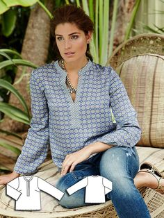 burda style, Magazin Schnitt, Tunika An kunstvoll bemalte Kacheln . Burda Patterns, Blouse Patterns, Clothing Patterns, Sewing Patterns, Blouse Sewing Pattern, Sewing Tutorials, Looks Pinterest, Diy Clothes, Clothes For Women