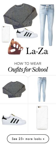 """""""Lazy day at school"""" by carleelingard on Polyvore featuring American Apparel, Frame Denim and adidas"""