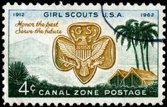 Here is an image of a stamp depicting the badge of the Girl Scouts of the USA and a couple of camping tents at Gatun Lake, engraved and printed by the Bureau of Engraving and Printing, and issued for use in the Panama Canal Zone on March 12, 1962 to commemorate the 50th anniversary of the USA's Girl Scouts Movement, Scott No. 156.
