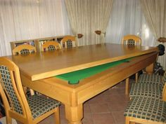 DINING ROOM TABLE WITH BUILT IN POOL TABLE Love The Idea Of It Being Hidden