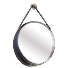 Rustic finished hanging round wall mirror, with a black leather strap design with belt buckle fasteners. The strap hangs from a stylish metal knob to complete the look. A truly unique piece. Metal Mirror, Round Wall Mirror, Wall Mounted Mirror, Round Mirrors, Industrial Irons, Rustic Industrial, Mirrors With Leather Straps, Unique Mirrors, Frames On Wall