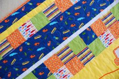 Baby Boy Quilt City Streets and Cars Crib by CharleyDeeandMe, $99.00